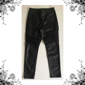 {TopShop} NWOT Black Faux Leather Moto Pants